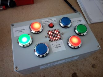 game box with led buttons, led matrix, and arduino